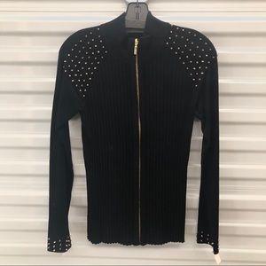 NWT Fontana Black Ribbed Zip Jacket with Spikes